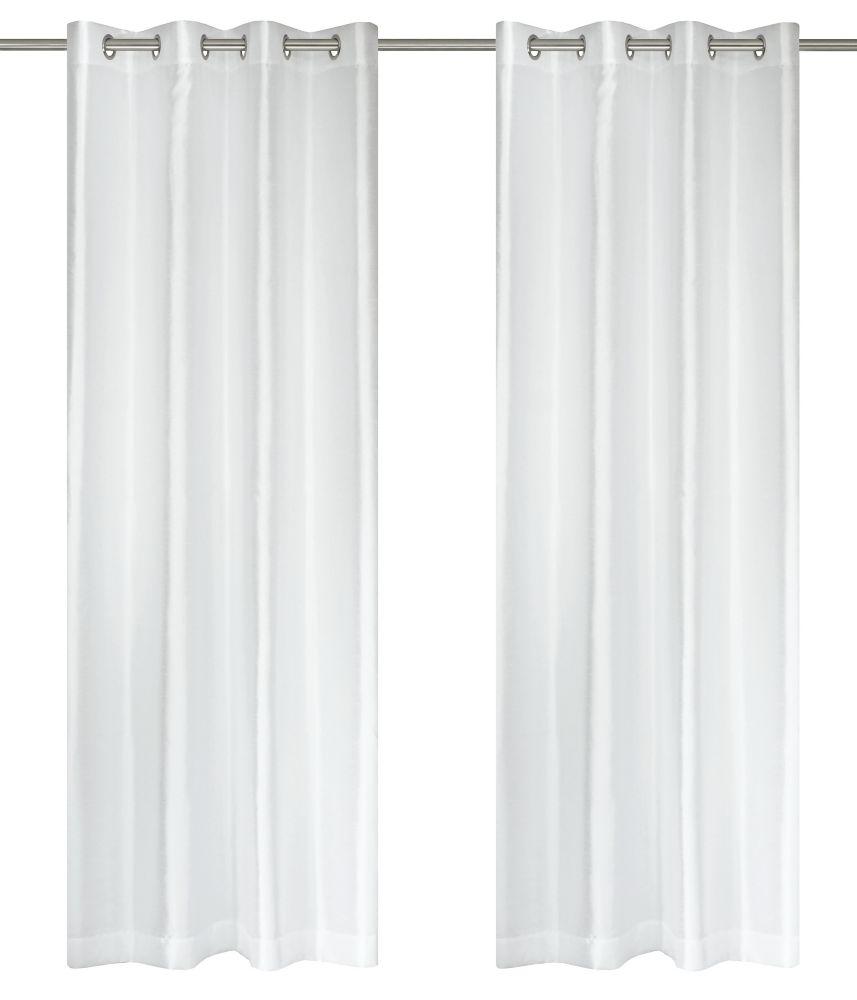 """Silkana paire de panneaux à �illets en fausse soie 56x88"""" Blanc"""