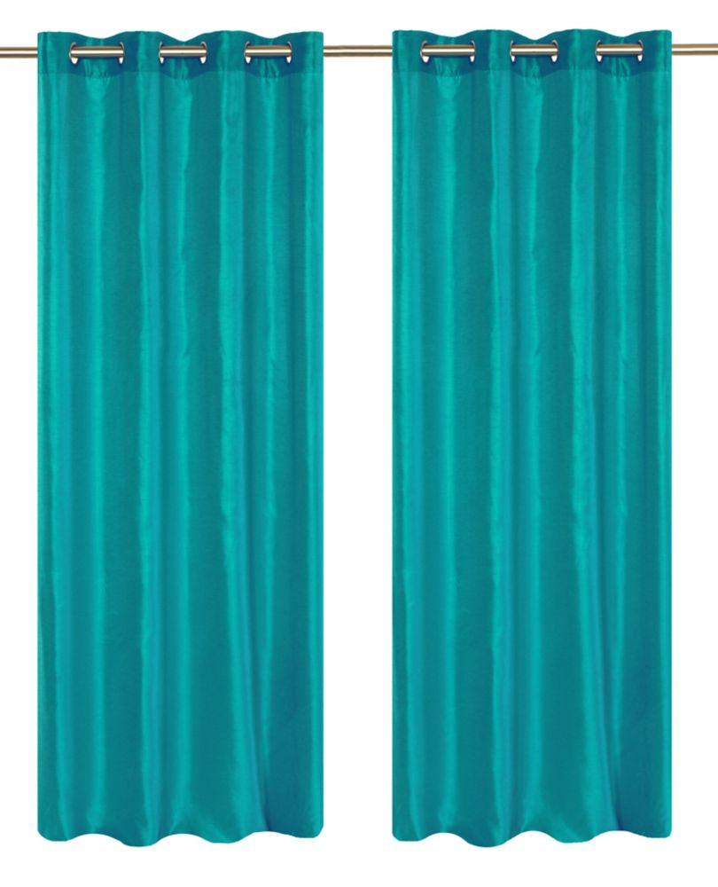 """Silkana paire de panneaux à �illets en fausse soie 56x88"""" Turquoise"""