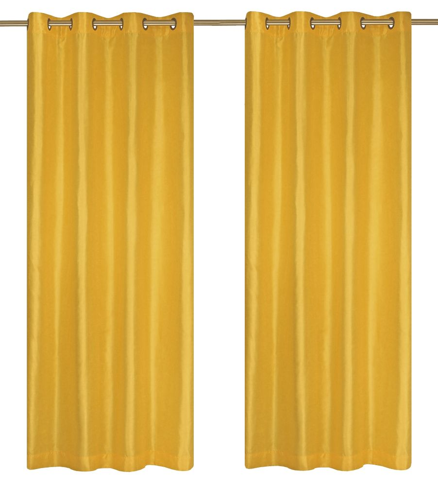 Silkana Faux Silk 56x88-inch Grommet 2-Pack Curtain Set, Pineapple Yellow