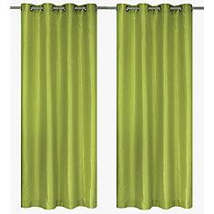Silkana Faux Silk Grommet Curtain Panels (Set Of 2) 56x88 In, Chartreuse