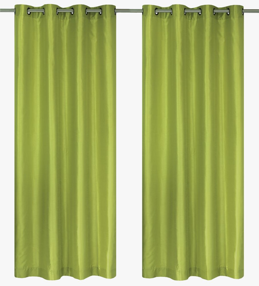Silkana Faux Silk 56x88-inch Grommet 2-Pack Curtain Set, Chartreuse