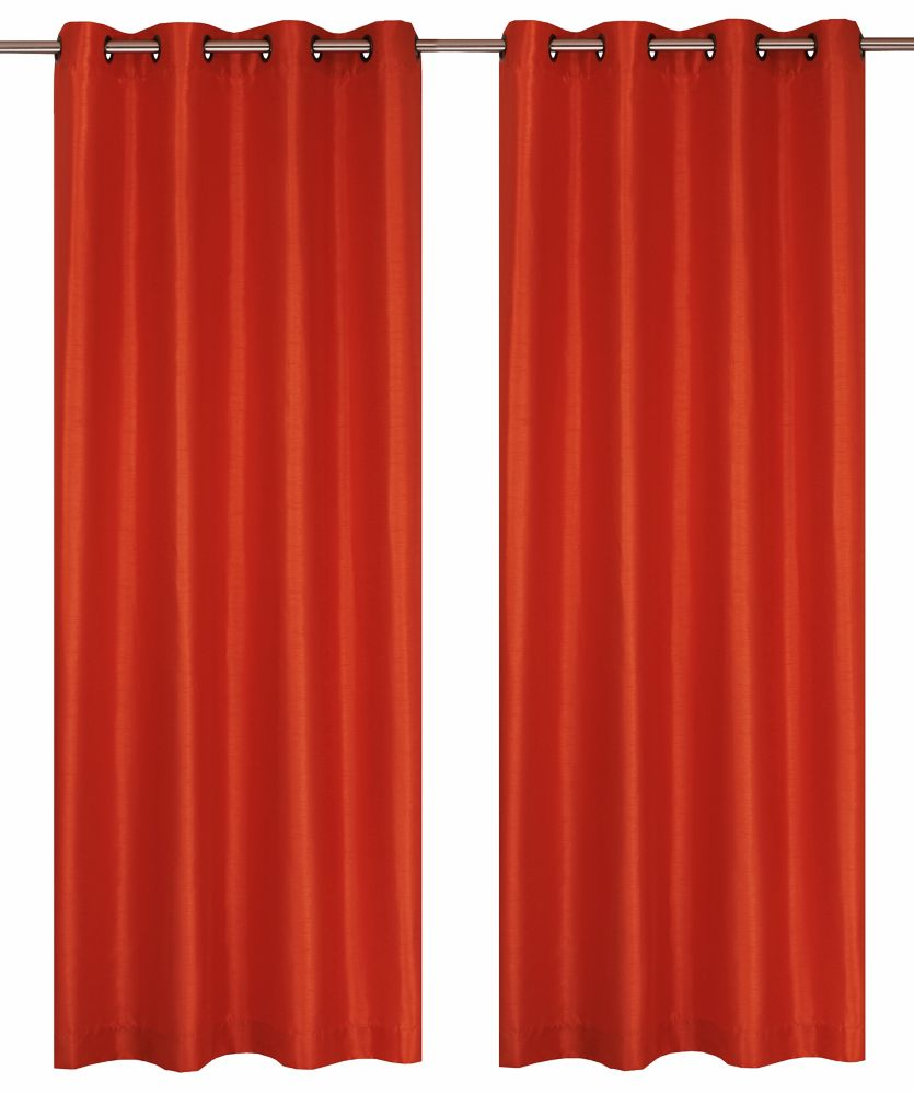 LJ Home Fashions  Silkana panneaux à oeillets fausse soie (une paire) 56 x 88 po, orange fonce