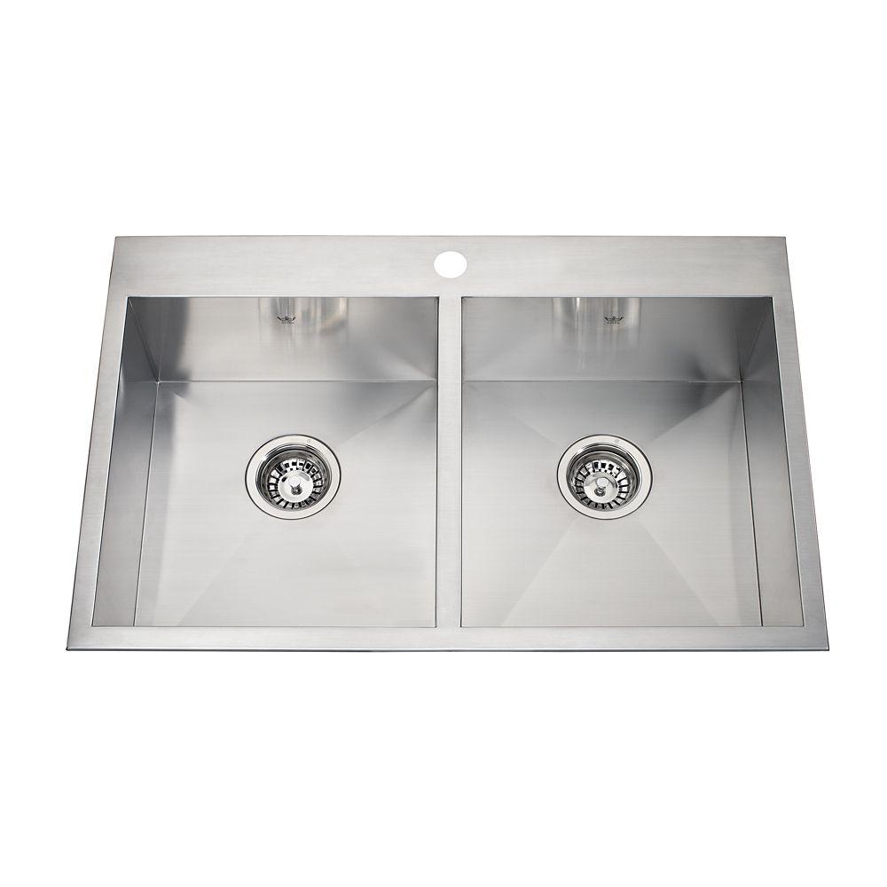 20 Gauge SS hand fab dualmount kitchen sink, 0 radius, 1-hole