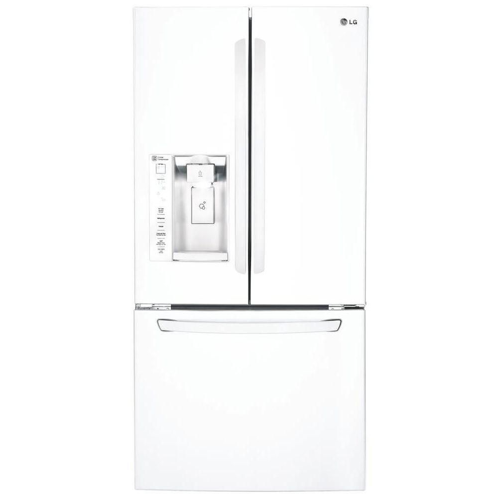 24.2 cu. ft. French Door Refrigerator with Ice and Water Dispenser in White