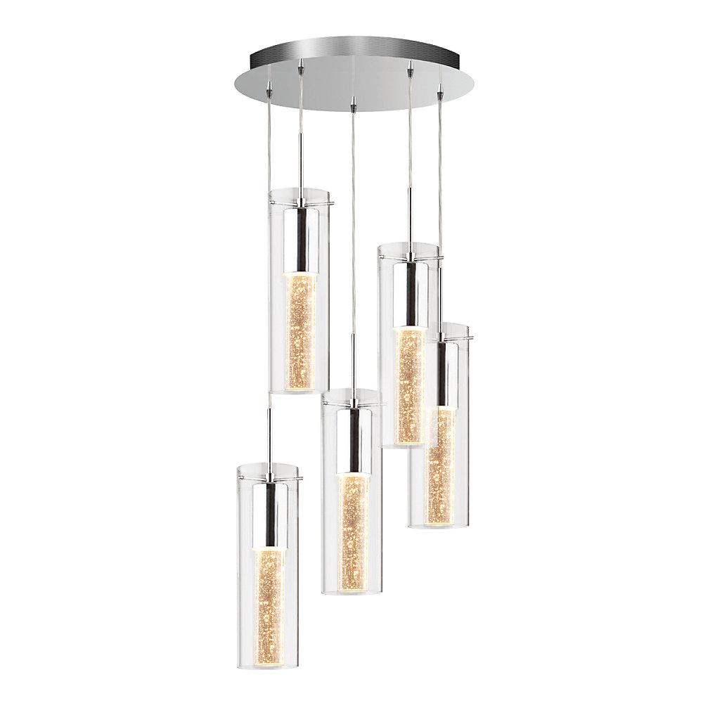 Essence 5 light chrome pendant light fixture with bubbled glass shade