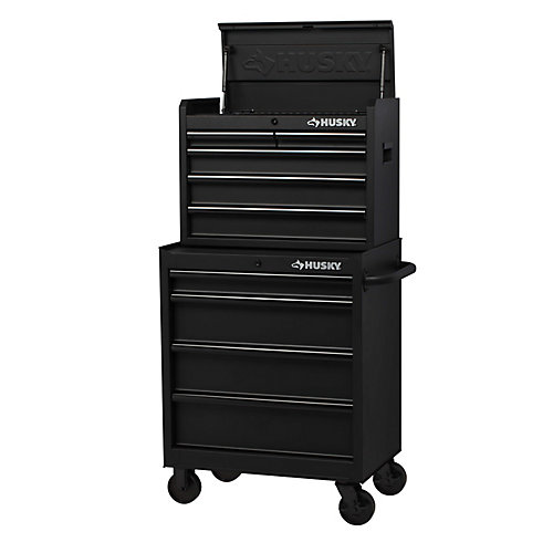 27 inch 9-Drawer Chest and Cabinet Combo - Black