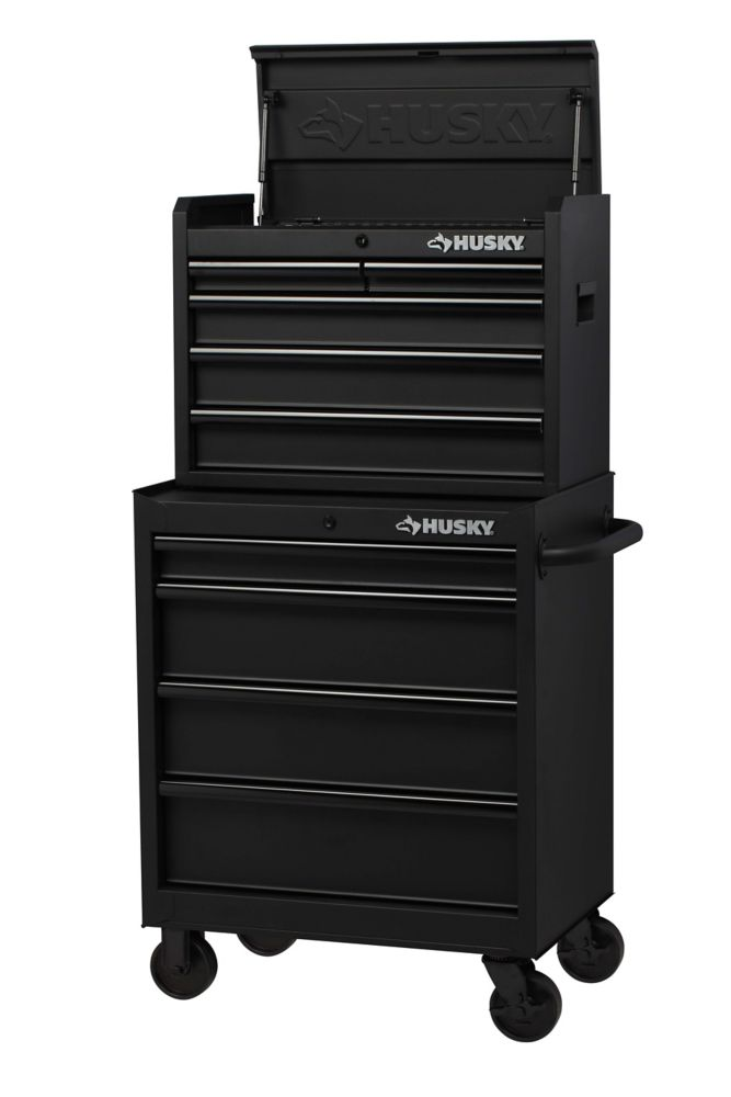 HUSKY 27 Inch 9-Drawer Chest and Cabinet Combo - Black