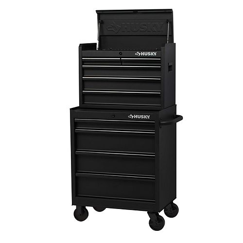 Husky 27-inch 9-Drawer Mobile Tool Storage Chest and Cabinet Combo in Black