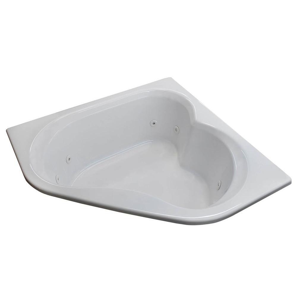 Beryl 5 Feet Corner Whirlpool Jetted Bathtub