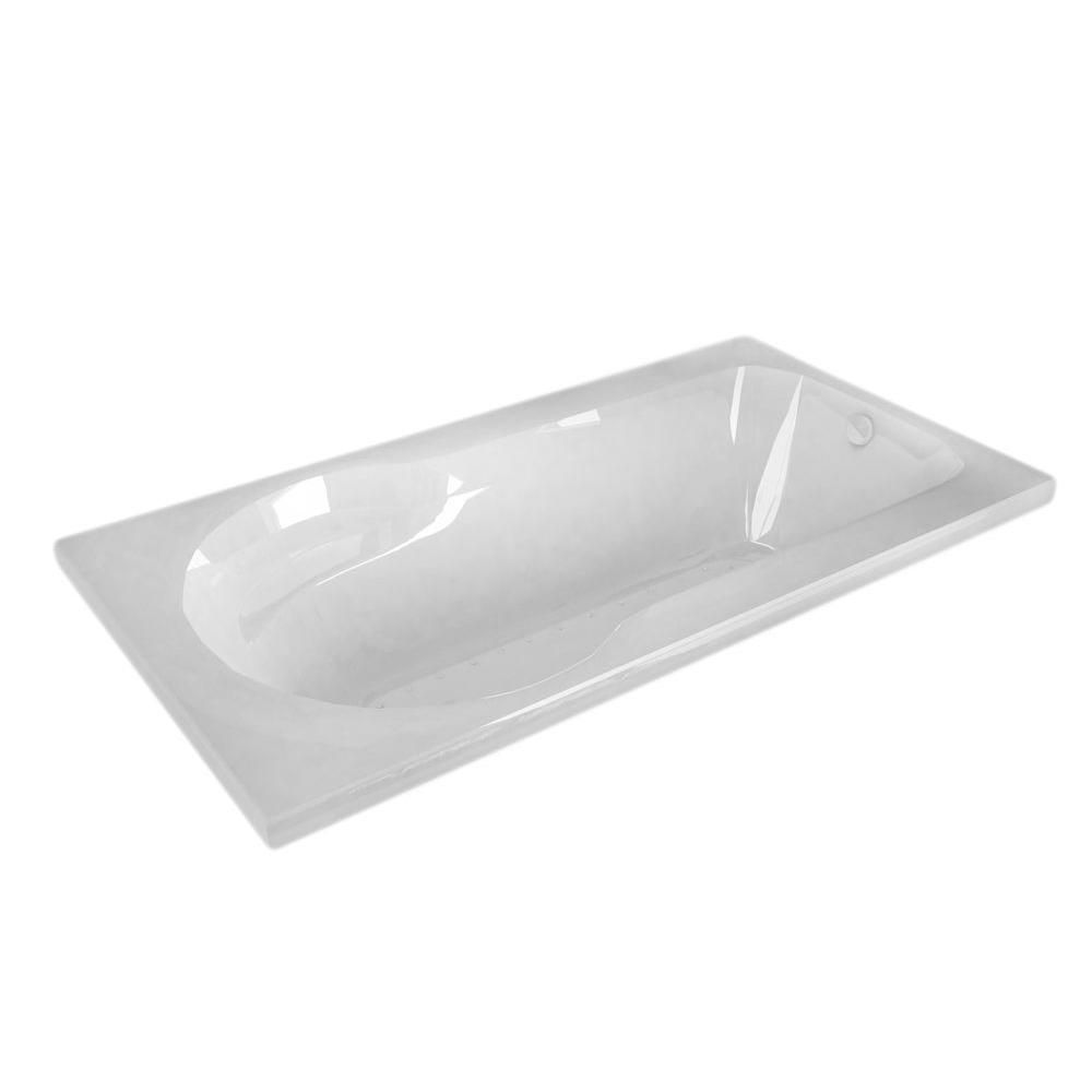 Zircon 5 Feet Rectangular Whirlpool Bathtub in White