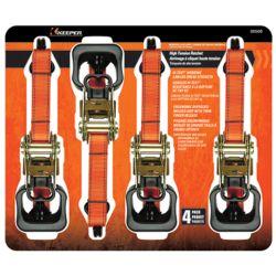 "KEEPER Tie-Down, 1.5"""" x 16' Ratchet 1000lb WLL, Jumbo (4-Pack)"