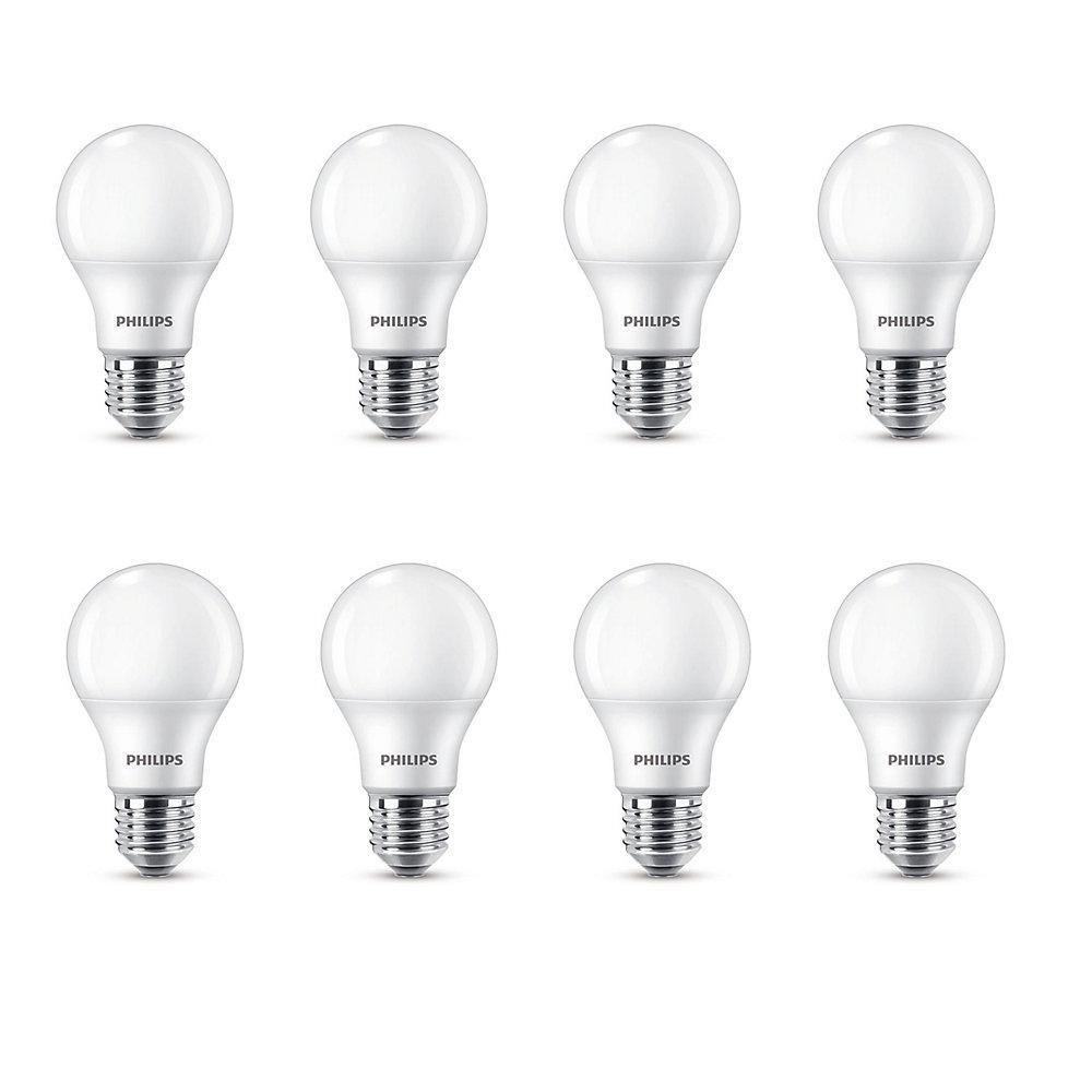 DEL=60w A19, blanc doux(8.5W) (2700K) - Non-gradable - Cas de 8 Ampoules