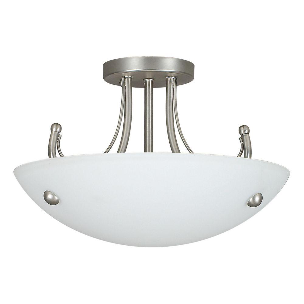 Fillament Design Atropolis 2 Light Ceiling Satin Nickel Compact Fluorescent Semi-Flush Mount