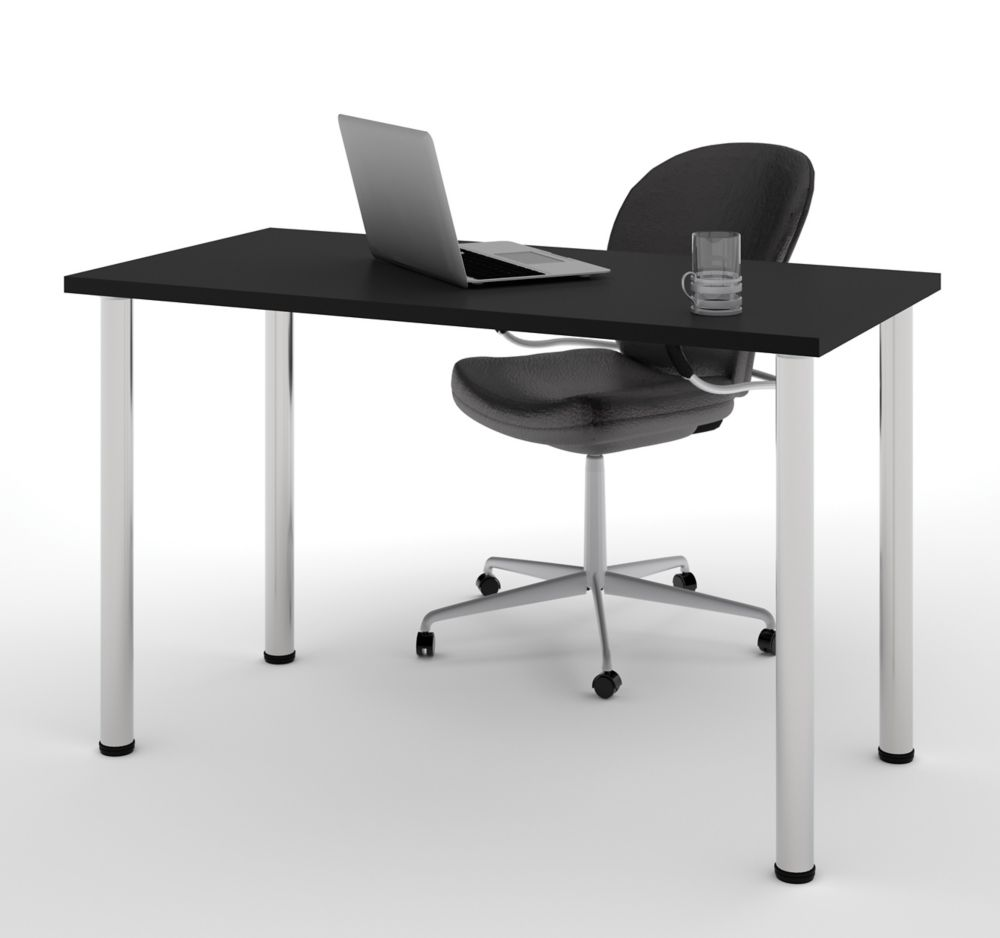 Bestar Table With Round Metal Legs In Black