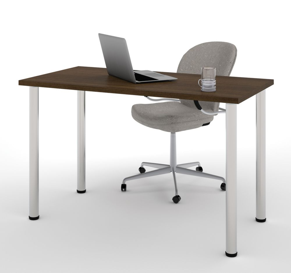 Bestar Table With Round Metal Legs In Tuxedo