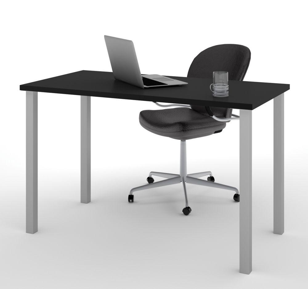 Table Bestar avec pattes de métal carrées au fini Noir