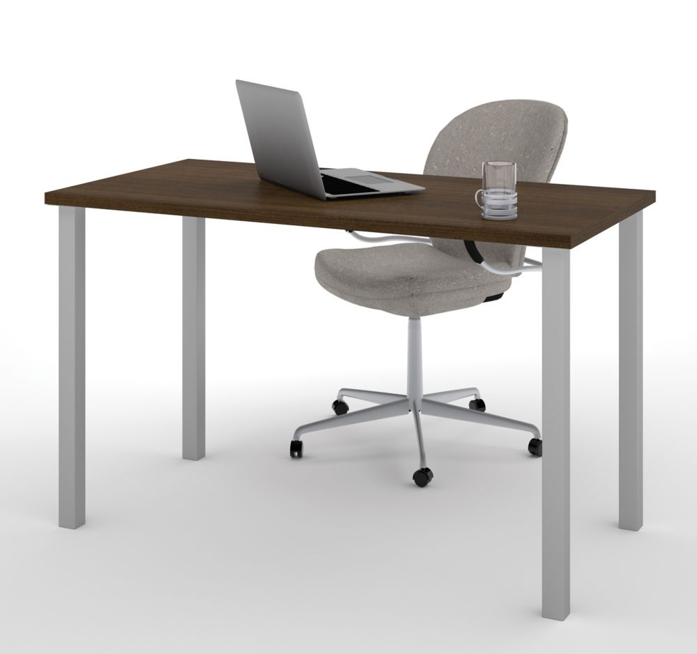 Bestar Table With Square Metal Legs In Tuxedo