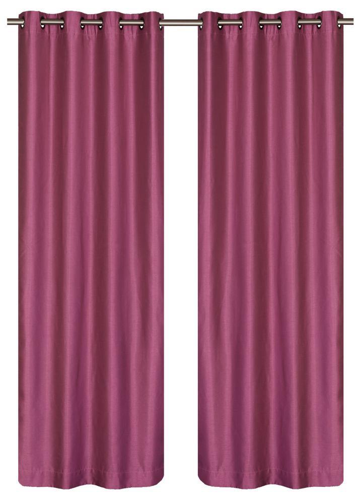 Silkana panneaux à oeillets fausse soie (une paire) 56 x 88 po, rose