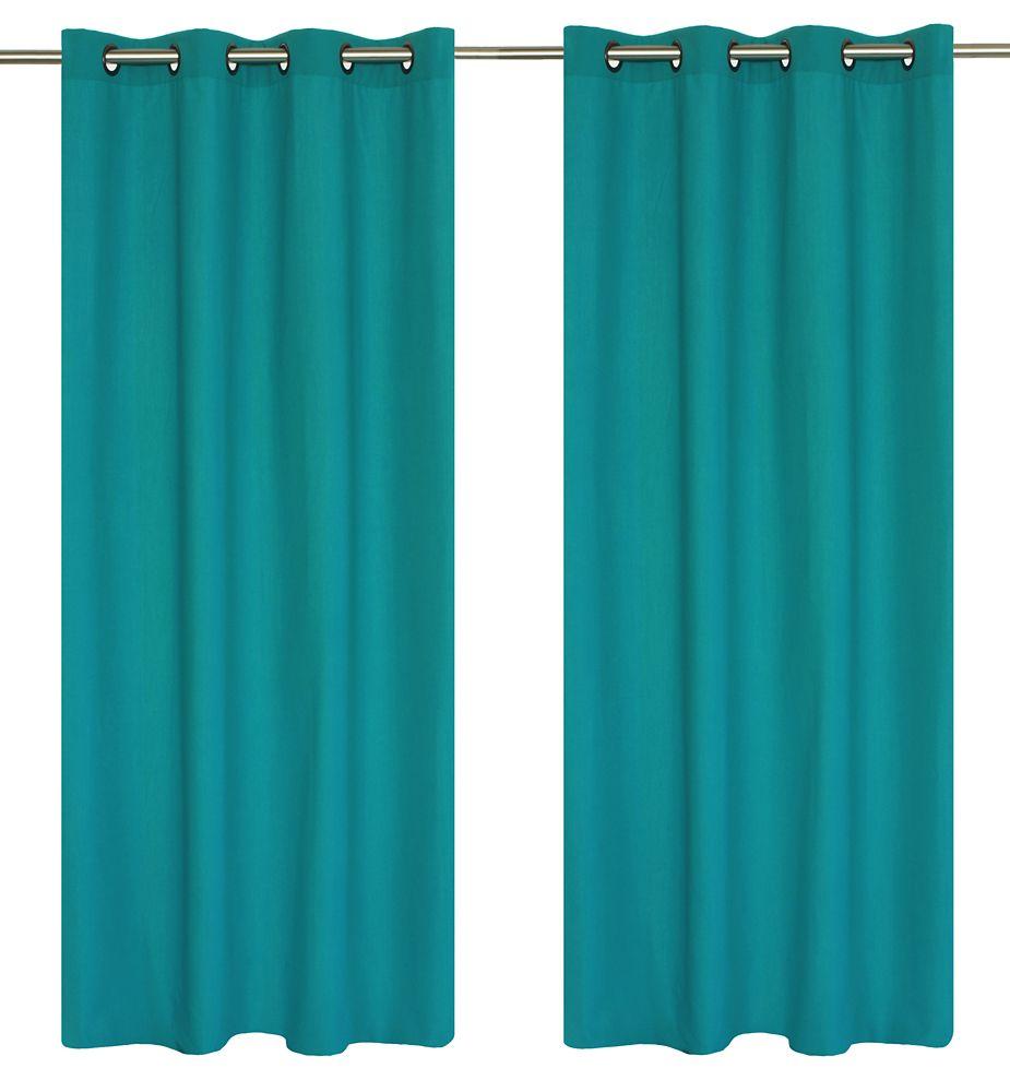 Karma Faux Cotton 54x95-inch Grommet 2-Pack Curtain Set, Turquoise