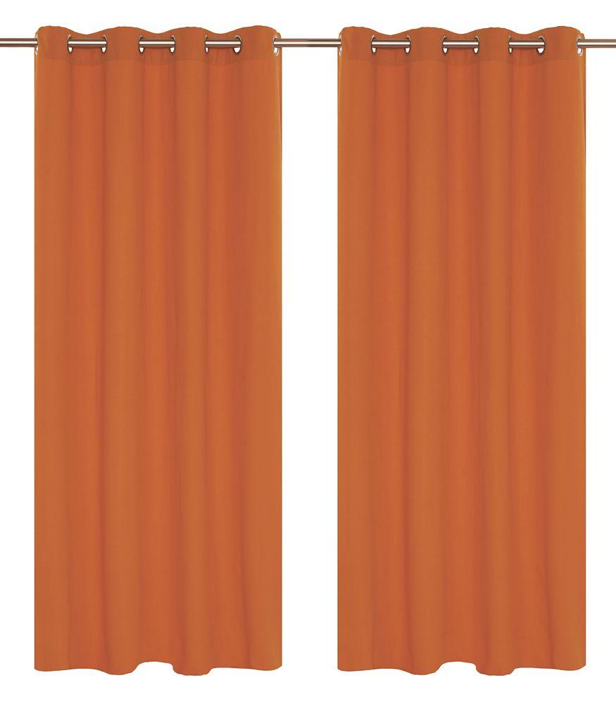 Karma Faux Cotton 54x95-inch Grommet 2-Pack Curtain Set, Orange