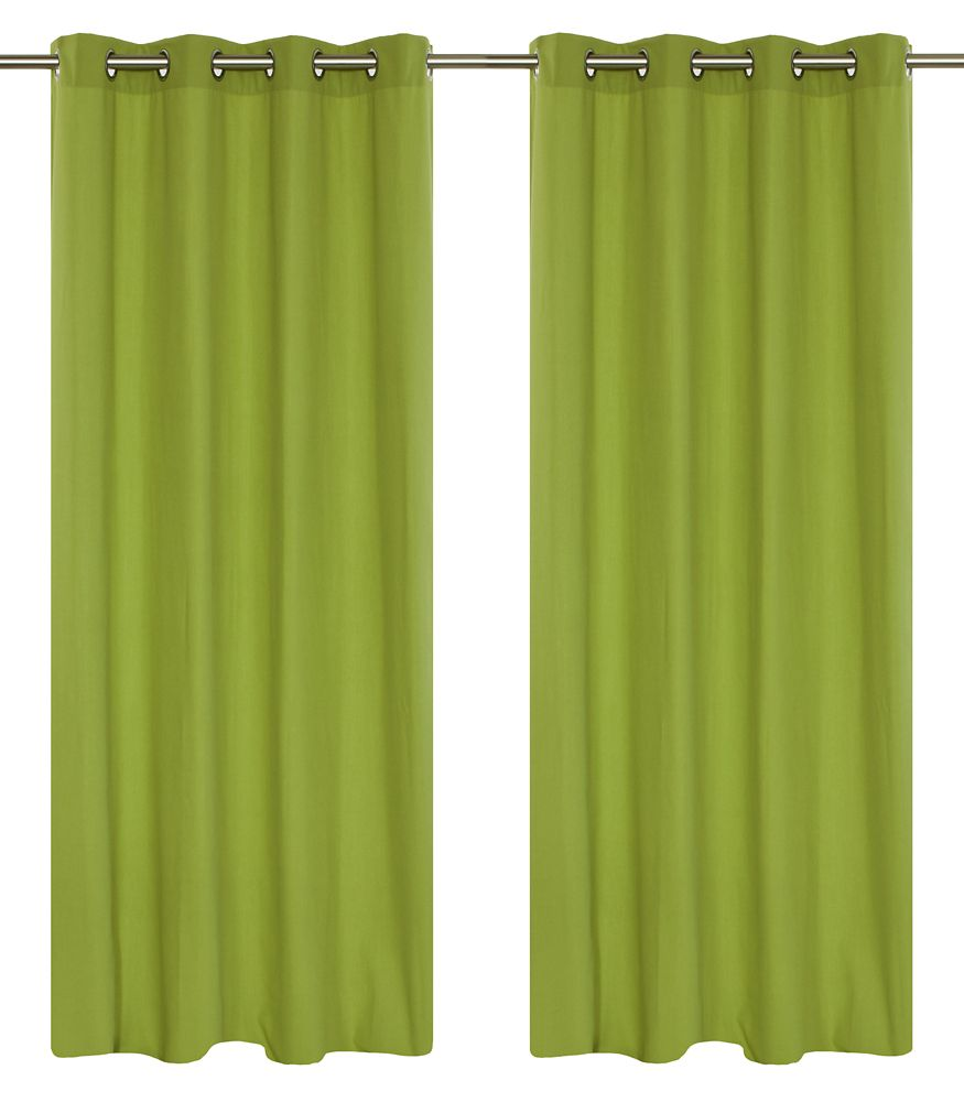 Karma Faux Cotton 54x95-inch Grommet 2-Pack Curtain Set, Chartreuse Green