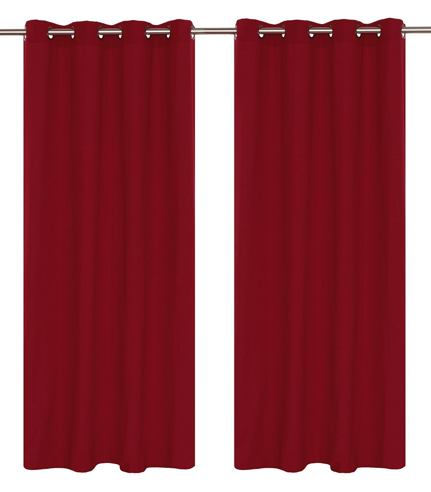 Karma Faux Cotton 54x95-inch Grommet 2-Pack Curtain Set, Red