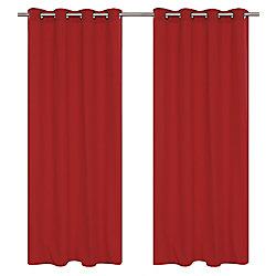 LJ Home Fashions Karma Cotton Like Grommet Curtain Panel Set,  54 inch W x 95 inch L, Rhubarb Red