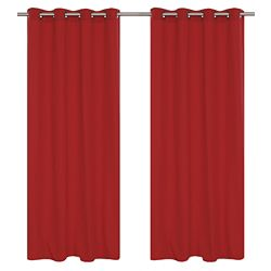 LJ Home Fashions Karma Cotton Like Grommet Curtain Panel Set,  54 inch W x 95 inch L, Rhubarb Red