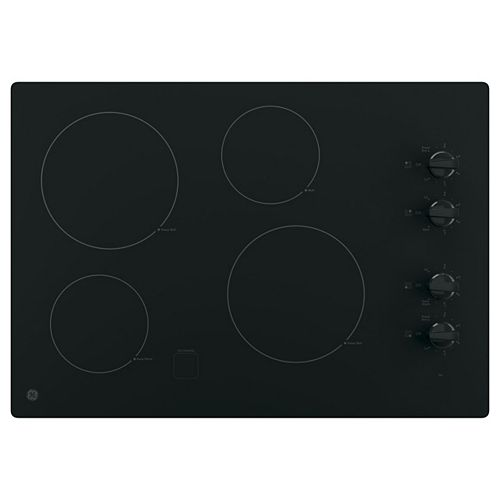 GE 30-inch Electric Cooktop in Black with 4 Elements
