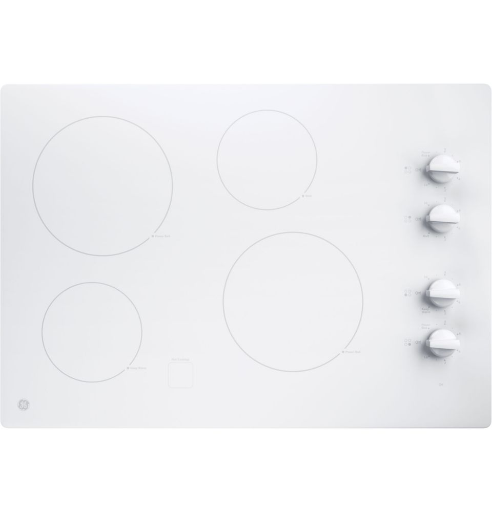 30- Inch  Electric Cooktop in White