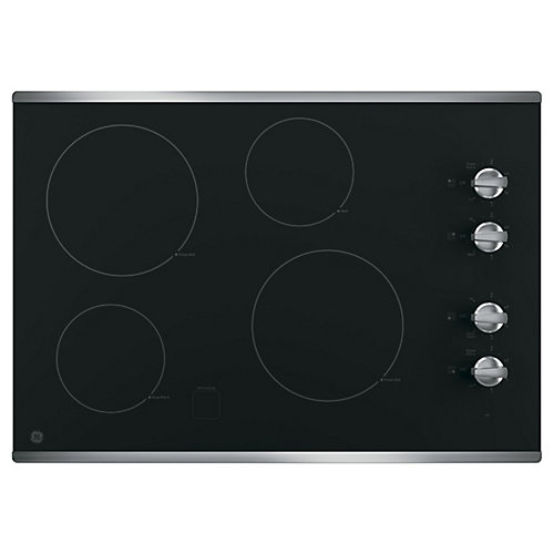 "30"" Smoothtop Electric Cooktop in Stainless Steel with 4 Elements including Power Boil"