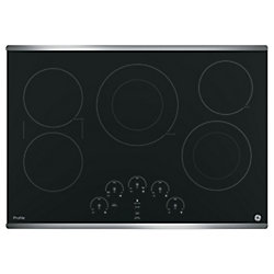 "GE Profile 30"" Smoothtop Electric Cooktop in Stainless Steel with 5 Elements Including 5""/8"" Element"