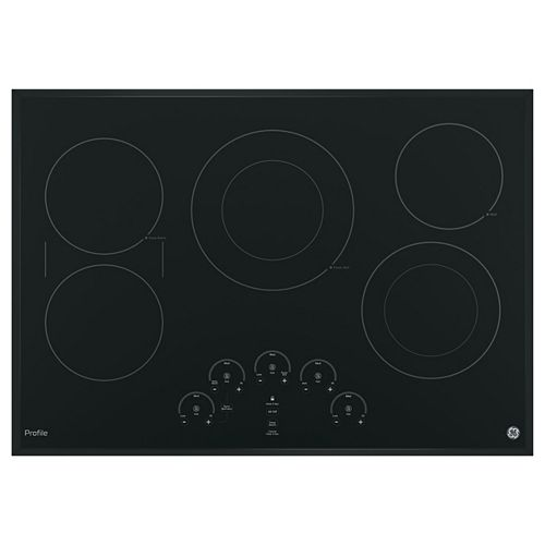 GE Profile 30-inch Electric Cooktop in Black with 5 Elements