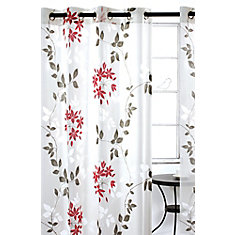 Dreamscape Sheer Floral Burnout Grommet Curtain Panel Set, 52 inch W x 95 inch L, White/Grey/Red