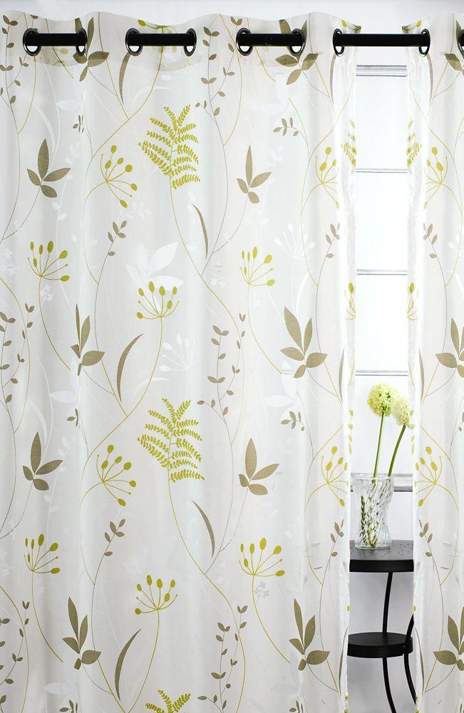 """Blossom paire de panneaux à �illets à motif de feuille 52x95"""" Chartreuse/Brun"""