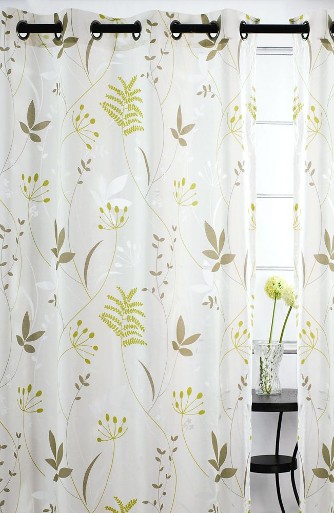 Blossom Sheer Floral 52x95-inch Grommet 2-Pack Curtain Set, Chartreuse/Brown