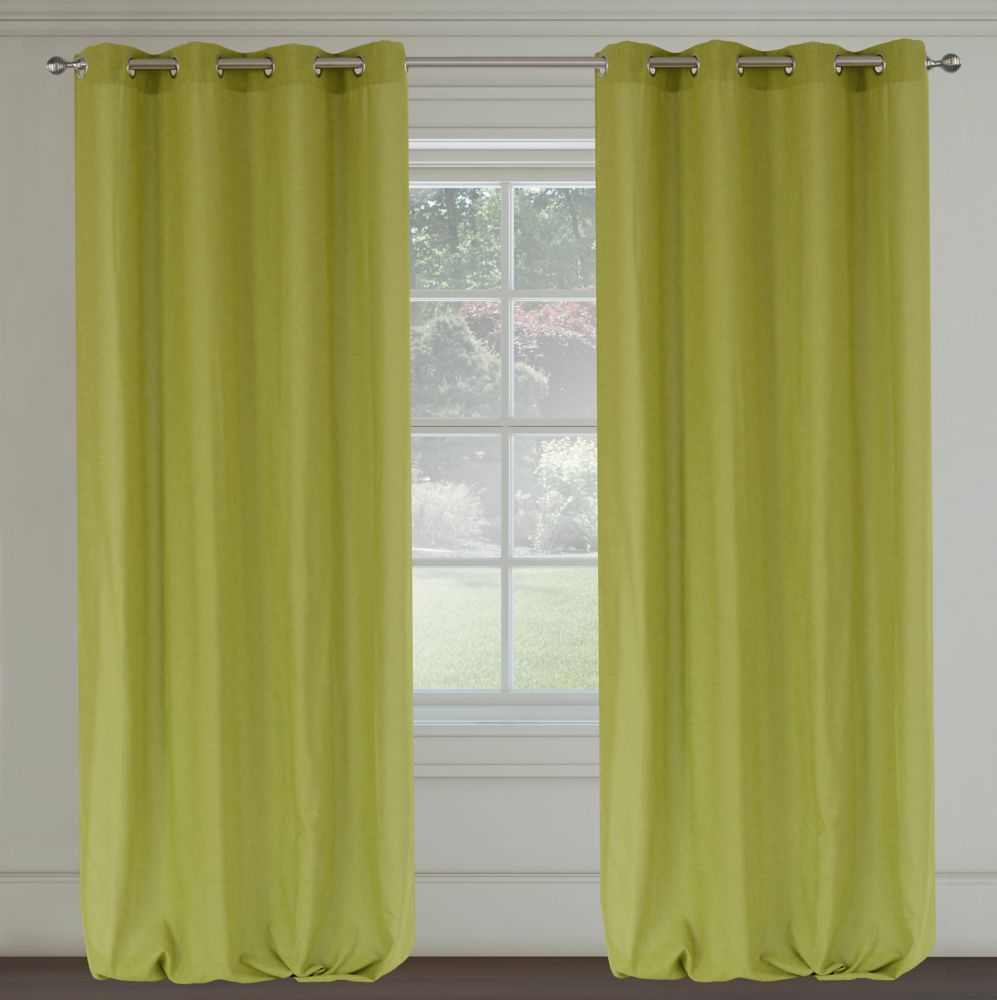 Maestro 39 Linen Like 39 Grommet Curtain Pair 54x95 In Chartreuse 310 In Canada
