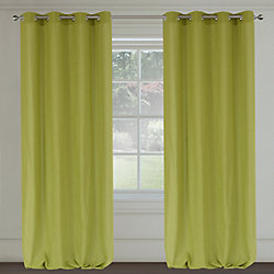 LJ Home Fashions Maestro Linen Like Grommet Curtain Panels 54x95-in, Chartreuse Green (Set of 2)