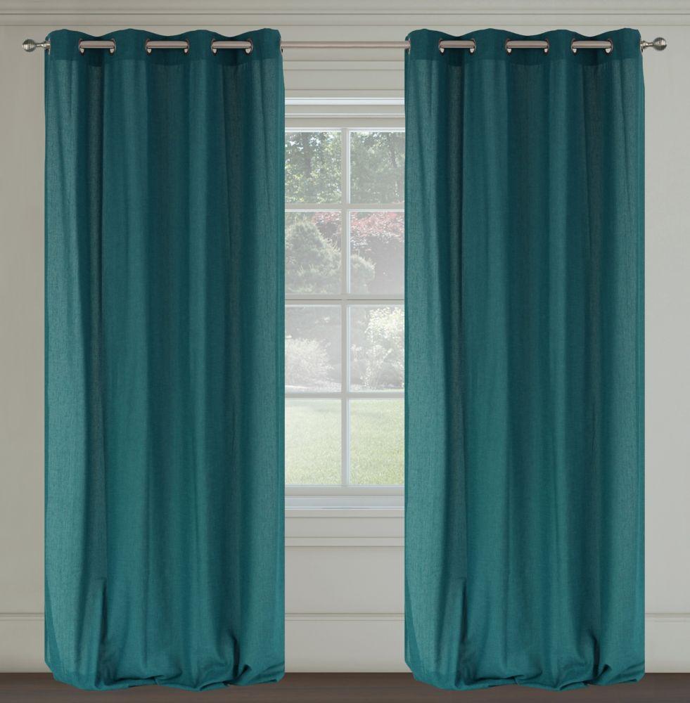Maestro Faux Linen 54x95-inch Grommet 2-Pack Curtain Set,  Peacock Blue