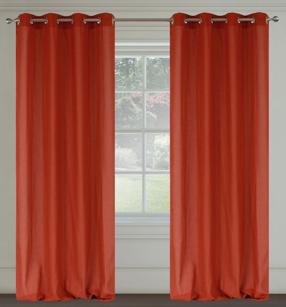 Maestro Faux Linen 54x95-inch Grommet 2-Pack Curtain Set,  Orange