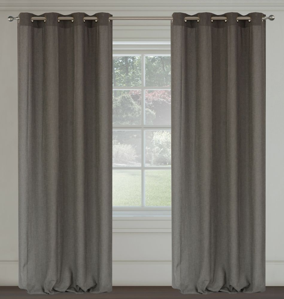 Maestro Faux Linen 54x95-inch Grommet 2-Pack Curtain Set,  Silver