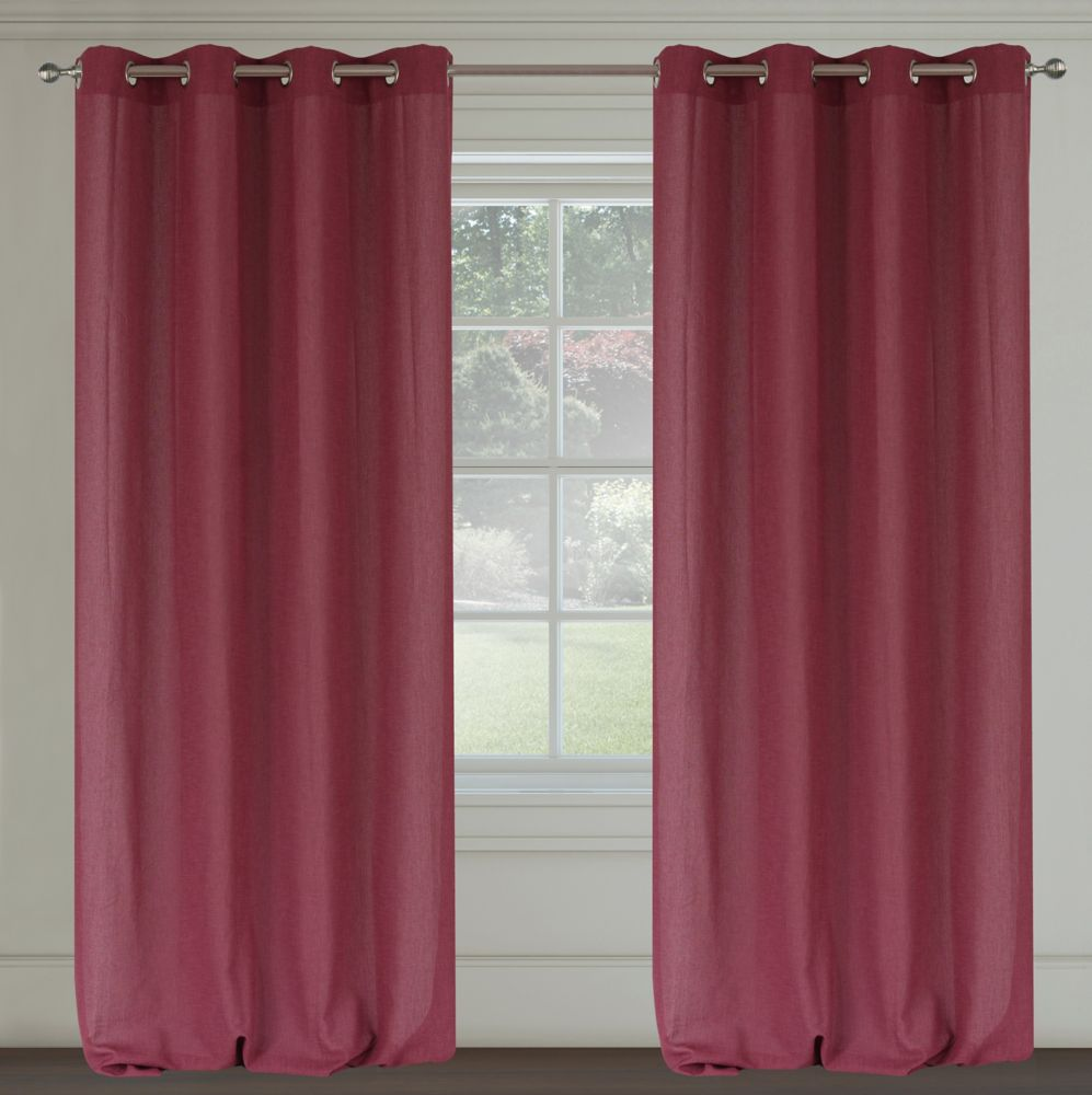 Maestro Faux Linen 54x95-inch Grommet 2-Pack Curtain Set,  Fuchsia