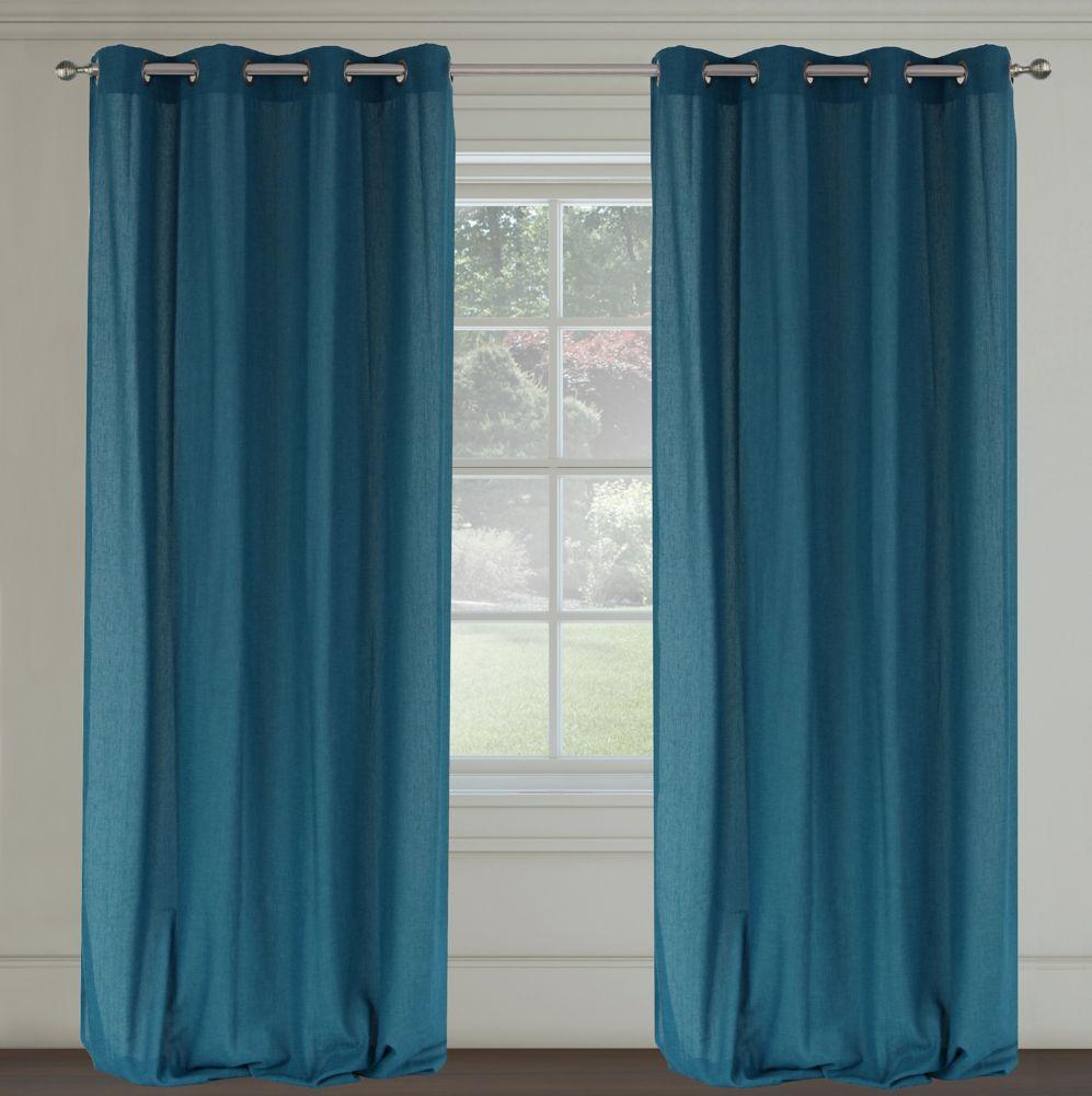 Maestro Faux Linen 54x95-inch Grommet 2-Pack Curtain Set, Blue Jeans