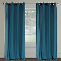 LJ Home Fashions Maestro Linen Like Grommet Curtain Panel Set,  54 inch W x 95 inch L, Blue Jeans