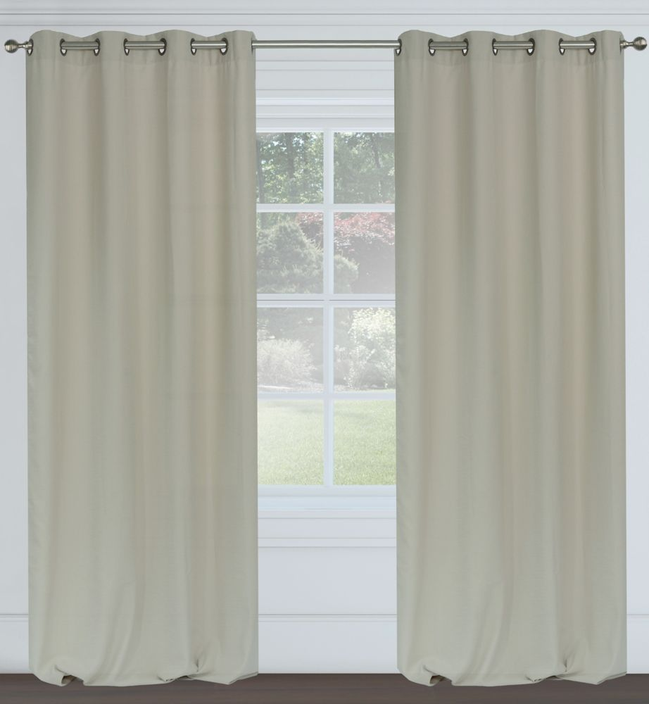 Maestro Faux Linen 54x95-inch Grommet 2-Pack Curtain Set, Putty Grey