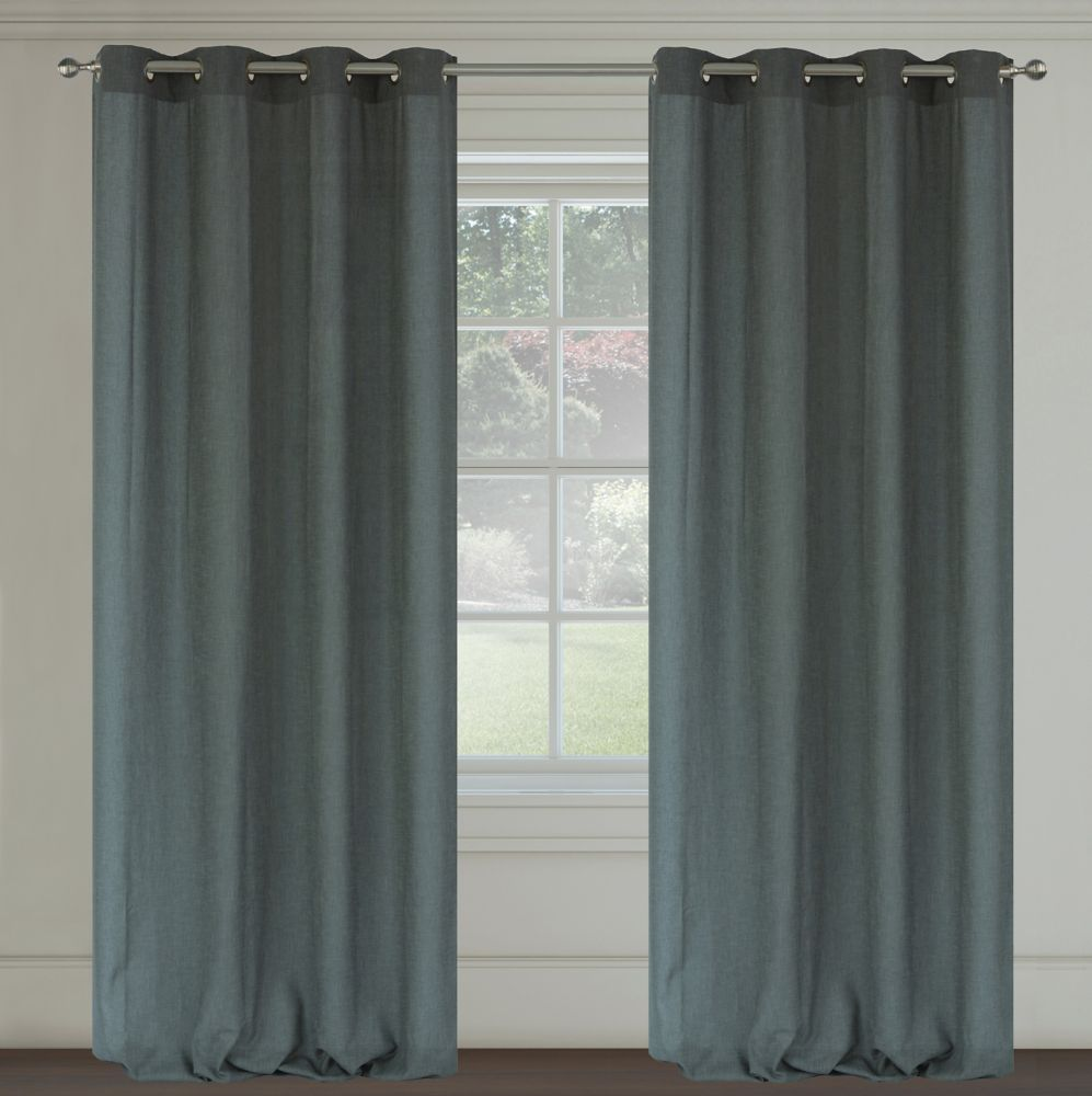 Maestro Faux Linen 54x95-inch Grommet 2-Pack Curtain Set, Grey