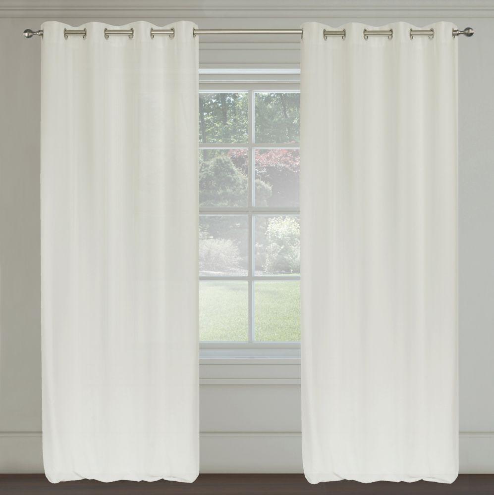 Maestro Faux Linen 54x95-inch Grommet 2-Pack Curtain Set, Ivory