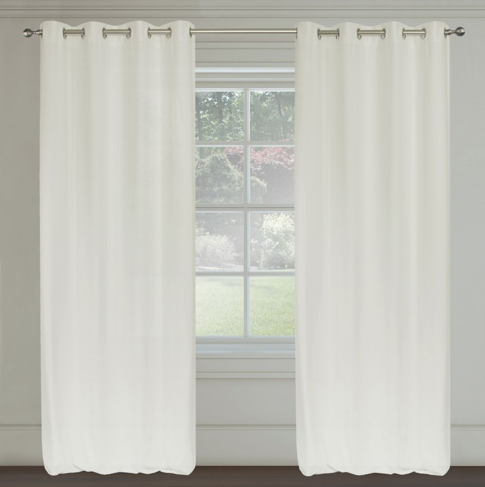 Maestro Faux Linen 54x95-inch Grommet 2-Pack Curtain Set, Ivory