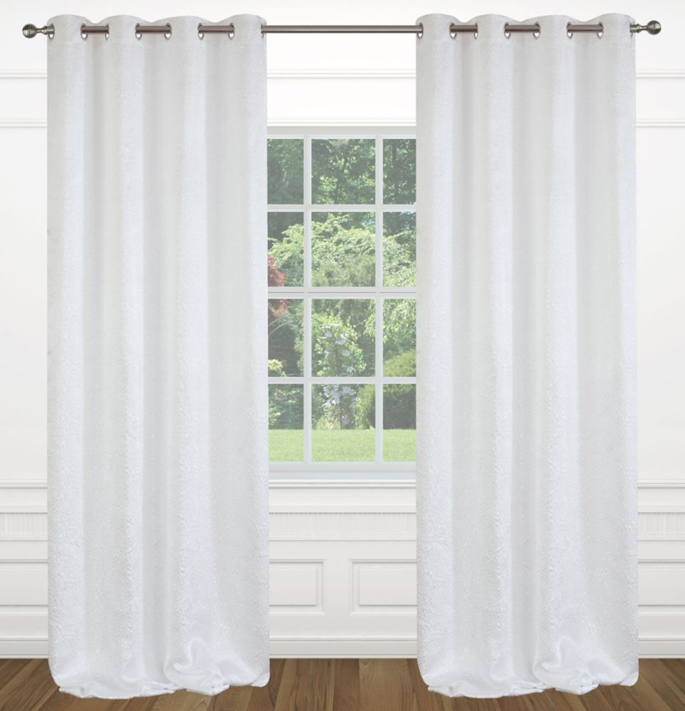 "Raindrops 54""x95"" inch Grommet 2-Pack Curtain Set,  White"