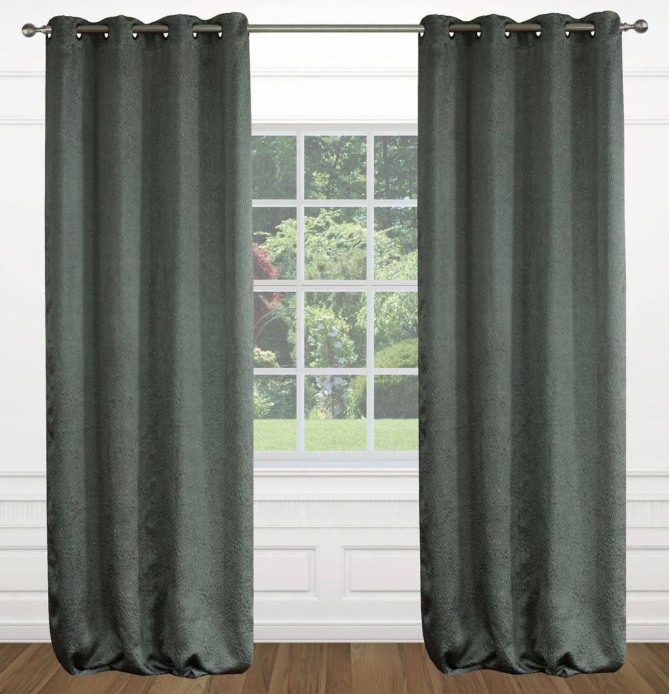 "Raindrops 54""x95"" inch Grommet 2-Pack Curtain Set,  Dark Grey"